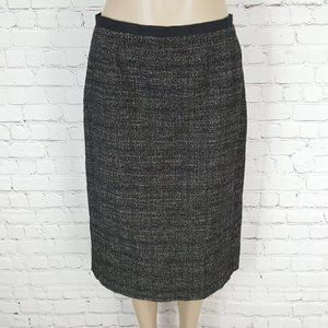 Max Mara Black Wool Linen Tweed Pencil Skirt 10